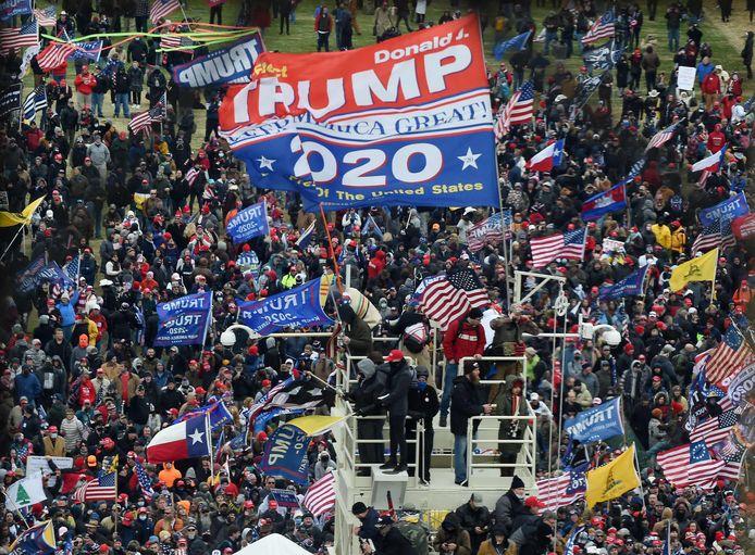 Aanhangers van oud-president Donald Trump tijdens de bestorming van het Capitool op 6 januari.