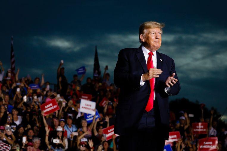 Ook na zijn presidentschap organiseert Donald Trump nog rally's om te klagen over de 'gestolen verkiezingen'.  Beeld Getty Images