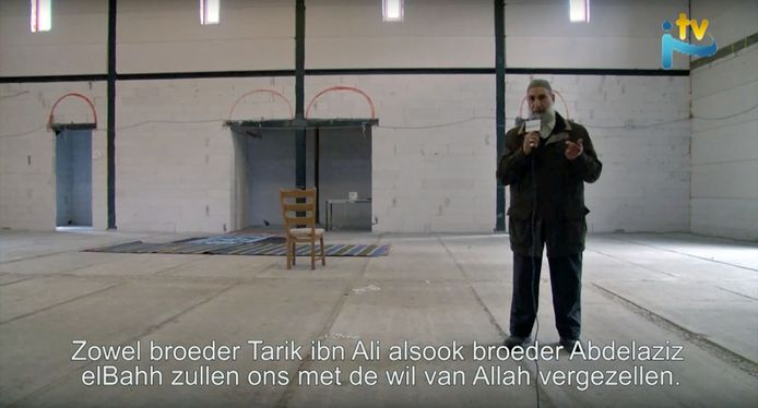Screenshot uit een filmpje op YouTube van de aankondiging benefiet in moskee Al Fath in Dordrecht.