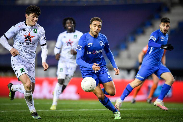 De Jupiler Pro League-match tussen KRC Genk en Cercle Brugge, vorige zondag. Beeld Photo News