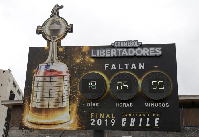 Het aftelbord voor de finale in de Chileense hoofdstad Santiago.