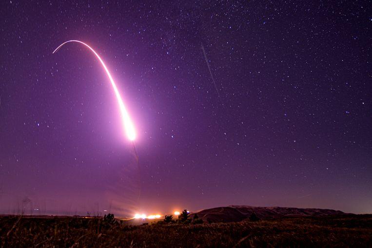 Archiefbeeld: lancering van de langeafstandsraket (ICBM) Minuteman III in oktober, eveneens vanaf de basis Vandenberg in Californië.