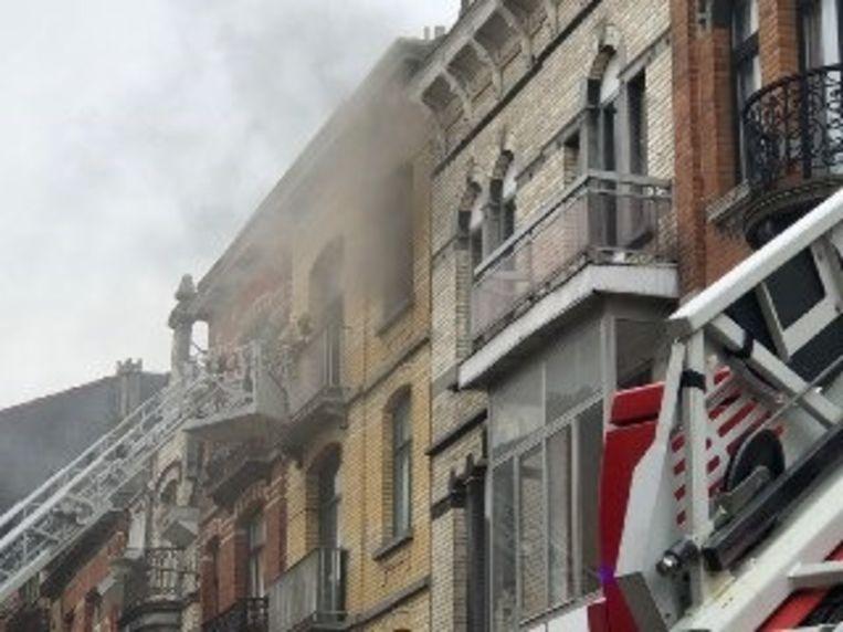 Keukenbrand in de Paul Devignestraat in Schaarbeek.
