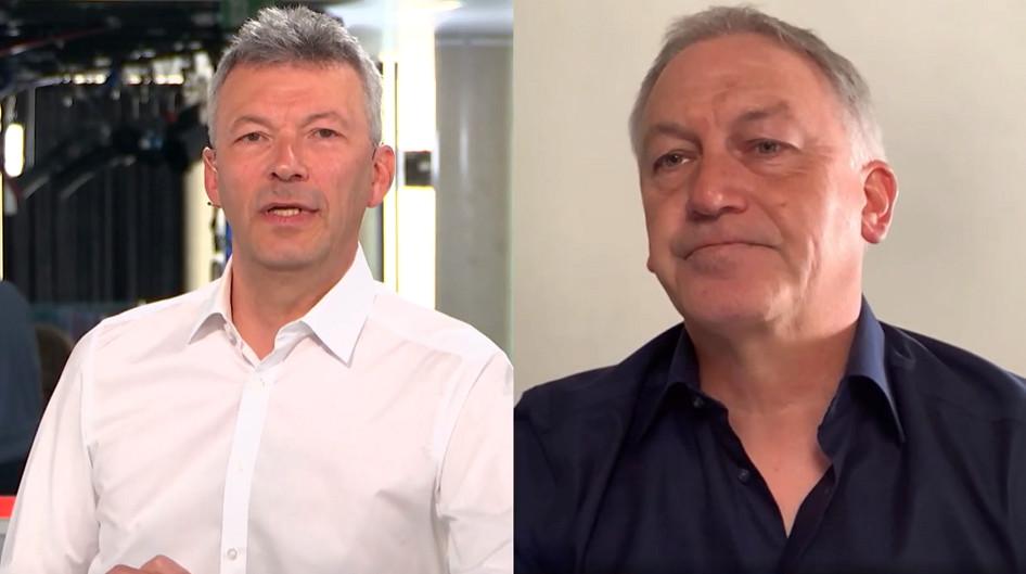 Marc Degryse (rechts) in gesprek met VTM-sportanker Jan Dewijngaert.