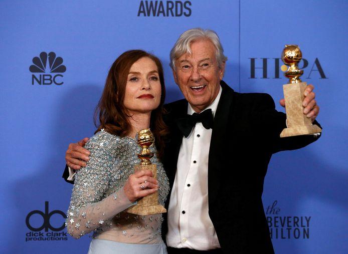 Huppert met Paul Verhoeven tijdens de Golden Globe Awards.