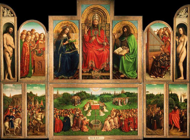 De IS-strijders worden gecast als Ridders van Christus op tweede paneel van links onderaan.