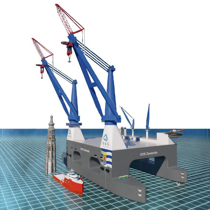 Gigantische Zeeuwse vlag komt op het grootste kraanschip ...