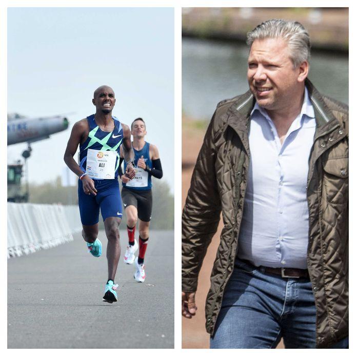 Links: hardlopers op Twente Airport. Rechts: advocaat Philippe Schol.