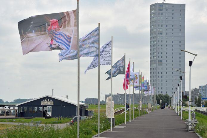 Kunstroute Schoonheid en Troost in Terneuzen met beelden, borden en vlaggen, bedrukt met kunst.