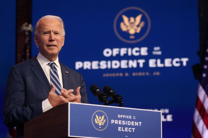 U.S. President-elect Joe Biden speaks about  health care and the Affordable Care Act (Obamacare) at the theater serving as his transition headquarters in Wilmington, Delaware, U.S. November 10, 2020.  REUTERS/Jonathan Ernst