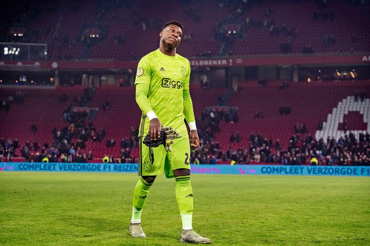 Andre Onana na een wedstrijd tegen Willem II in het seizoen 2019 - 2020.  Beeld Guus Dubbelman / de Volkskrant