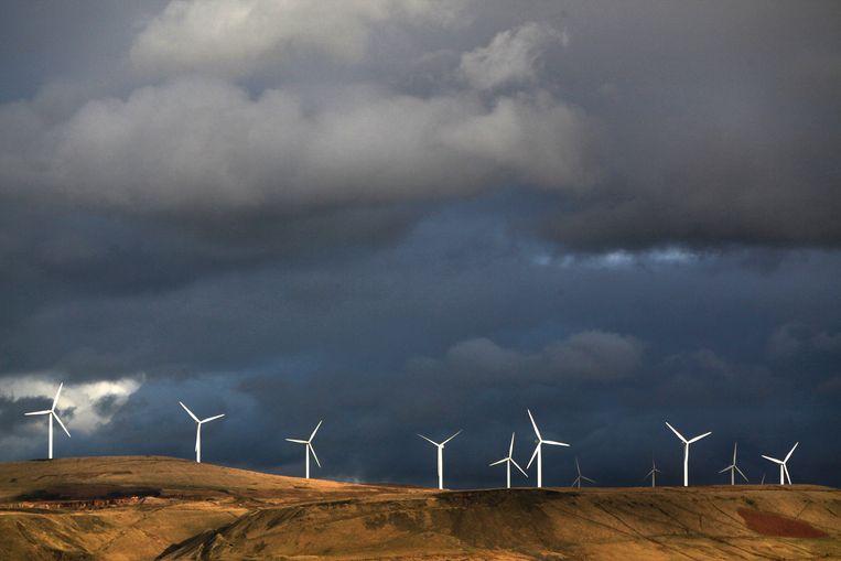 Een windmolenpark in Rochdale, in het Verenigd Koninkrijk.   Beeld Getty Images