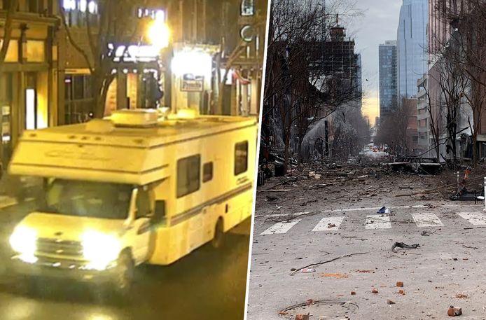 Links de later ontplofte camper, rechts de schade die de explosie aanrichtte.
