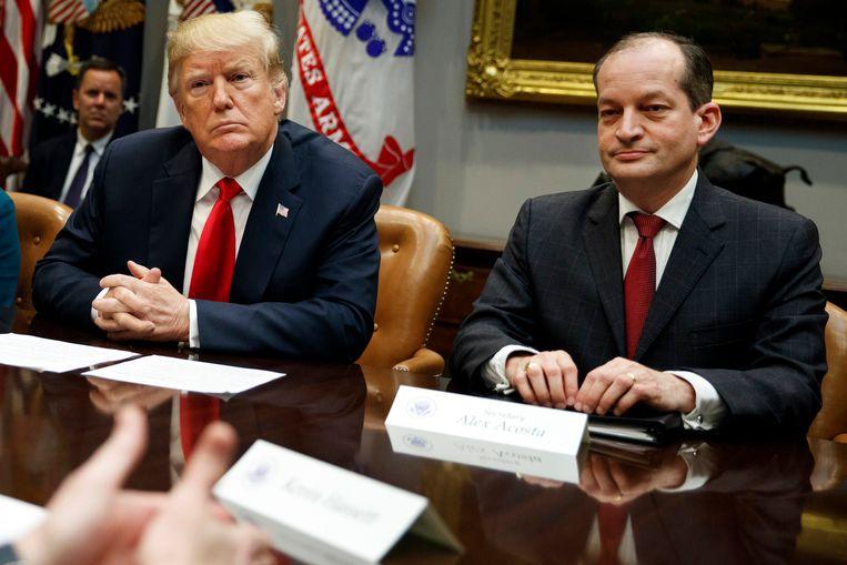 Ook president Donald Trump en minister van Arbeid Alexander Acosta zijn bij de zaak betrokken. Beeld AP