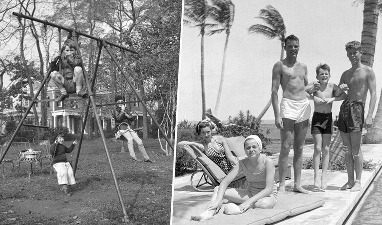 Bobby Kennedy bovenop een speeltoestel in de tuin (links) en enkele Kennedy's (met uiterst rechts JFK) aan het zwembad. Beeld AP