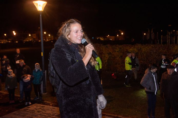 Archiefbeeld: Hanne Maudens bij de start van de City Night Run in Wetteren.