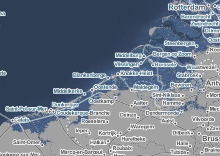 Een kaart op de website Before The Flood toont welke gebieden van België vandaag onder water zouden staan bij een stijging van de zeespiegel met 65 centimeter. Beeld Climate Central