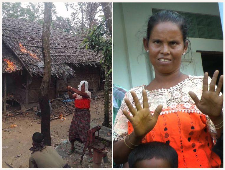 Tijdens een door de Burmese regering georganiseerde trip kregen journalisten de linker foto, om te bewijzen dat Rohingya-moslims huizen in de eigen gemeenschap in brand staken. Maar verslaggevers herkenden in de vrouw een 'hindoe-vluchteling' (rechts), die hen kort daarvoor had verteld over Rohingya-wandaden.  Beeld AP