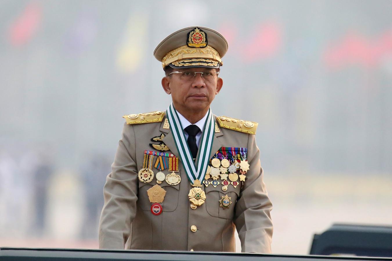 De militaire machthebber van Myanmar, Min Aung Hlaing.