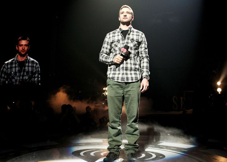 Justin Timberlake op het iHeartRadio Music Festival in Los Angeles. Beeld getty