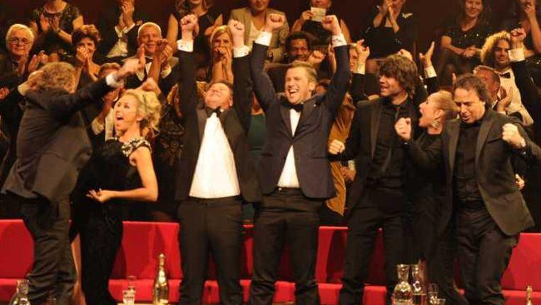Vreugde bij het team van The Voice of Holland. Beeld anp