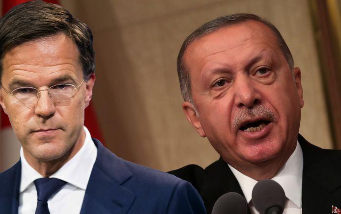 Premier Mark Rutte en de Turkse president Recep Tayyip Erdogan.