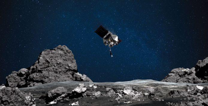Impressie van de afdaling van ruimtesonde OSIRIS-REx naar asteroïde Bennu om een staal van het oppervlak van de ruimterots op te halen.