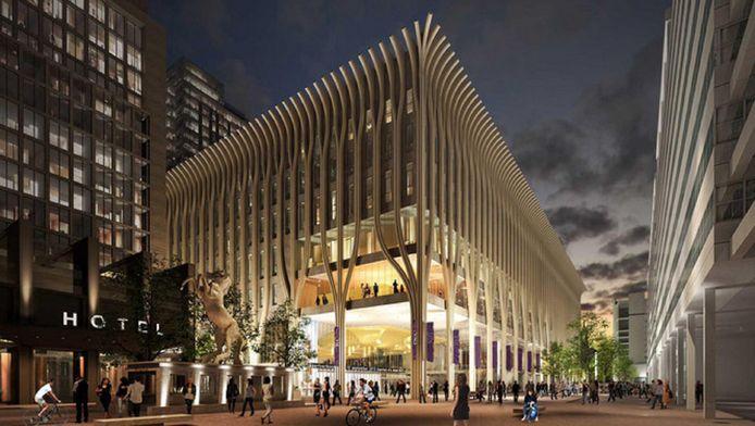 Een schets van het nieuwe cultuurcomplex aan het Spui, dat in 2020 open gaat.