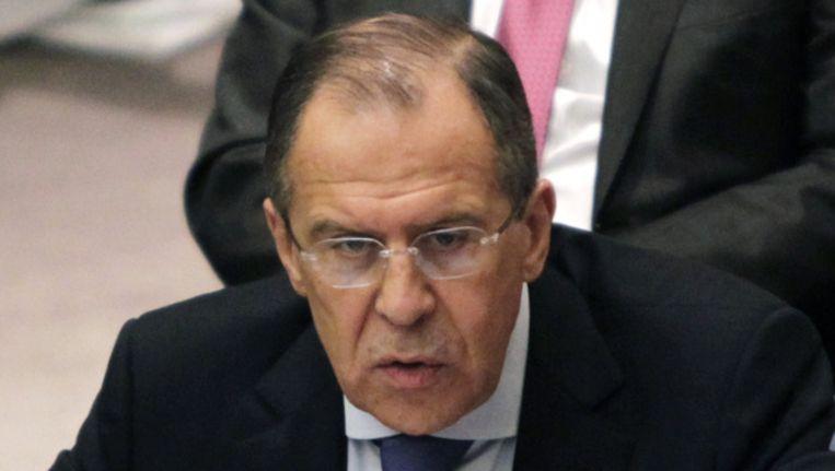 Sergei Lavrov, de Russische minister van Buitenlandse Zaken, vandaag tijdens een vergadering van de Veiligheidsraad. Beeld ap