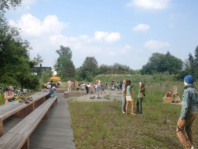 Een beeld van het toekomstige stadpark.