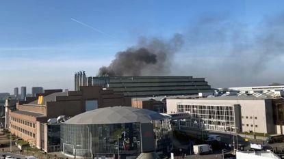 Dikke zwarte rookpluim door brand in Paleis 5 op de Heizel