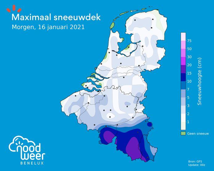 Op zaterdag kan er overal een sneeuwtapijt ontstaan van enkele centimeter.