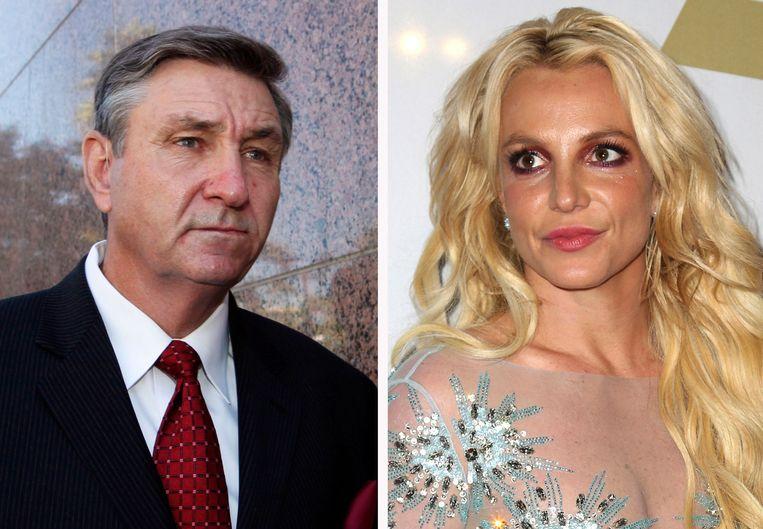 Jamie Spears, links, en zijn dochter Britney.  Beeld AP