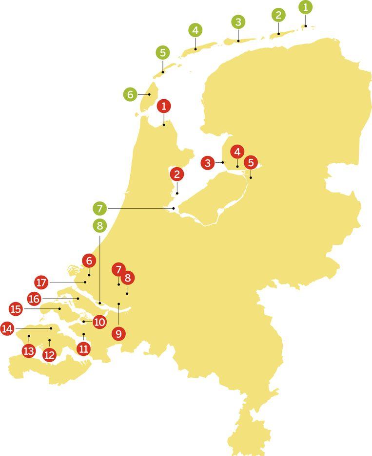 Eilanden (groen): 1. Rottum, 2. Schiermonnikoog, 3. Ameland, 4. Terschelling, 5. Vlieland, 7. Pampus, 8. Tiengemeten. Voormalige eilanden (rood): 1. Wieringen, 2. Marken, 3. Urk, 4. Schokland, 5. Kampereiland, 6. Rozenburg, 7. IJsselmonde, 8. Eiland van Dordrecht, 9. Hoeksche Waard, 10. Sint Philipsland, 11. Tholen, 12. Zuid-Beveland, 13. Walcheren, 14. Noord-Beveland, 15. Schouwen-Duiveland, 16. Goeree-Overflakkee, 17. Voorne-Putten. Beeld