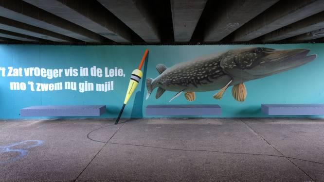 ''t Zat vroeger vis in de Leie': nieuwe streetartpareltjes sieren Dam- en Noordbrug en Begijnhofpark