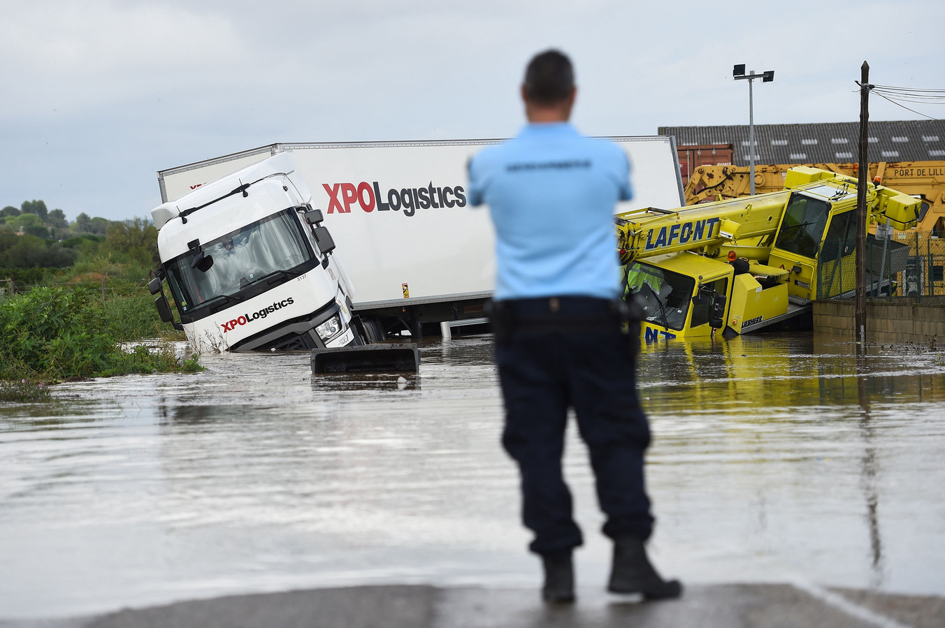 Overstroomde straten in het Franse departement Gard.
