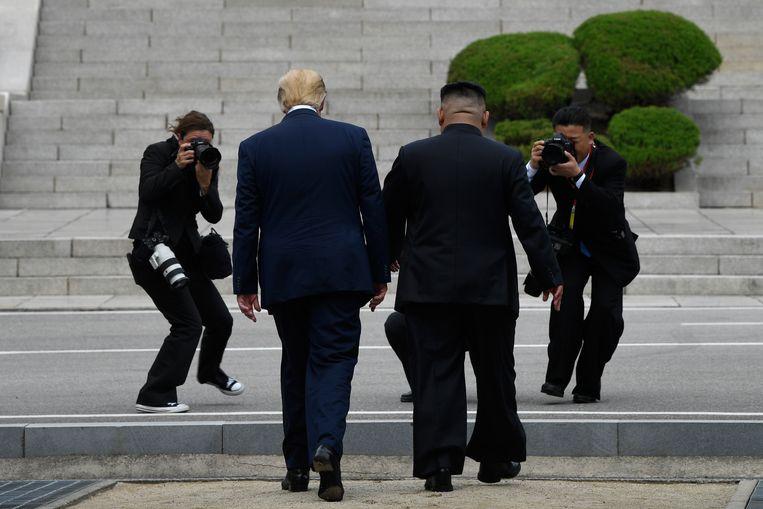 Tijdens zijn ontmoeting met Kim betrad Trump Noord-Koreaanse bodem, als eerste Amerikaanse president ooit. Beeld AP