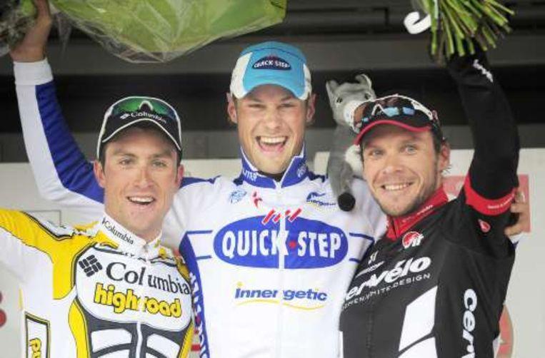Het podium: Eisel, Boonen, Hunt. Beeld UNKNOWN