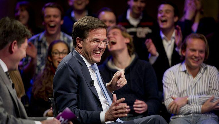 Een lachende Rutte tijdens de opnamen van een uitzending van College Tour. Beeld anp