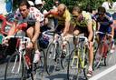 Van links naar rechts: Gert-Jan Theunisse, Laurent Fignon, Greg Lemond en Pedro Delgado