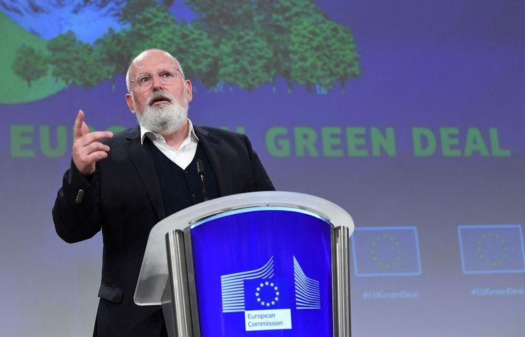 Europees Commissaris Timmermans (Green Deal) bij de persconferentie over het klimaatpakket woensdag 14 juli in Brussel. Beeld AFP