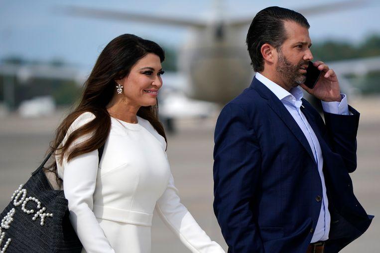 Donald Trump Jr. en Kimberly Guilfoyle, zijn huidige partner. Op de Republikeinse Conventie afgelopen zomer riep zij uit: 'The best is yet to come!' Beeld AP