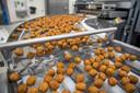 Vegetarische gehaktballetjes rollen van de band in de fabriek in Giessen.