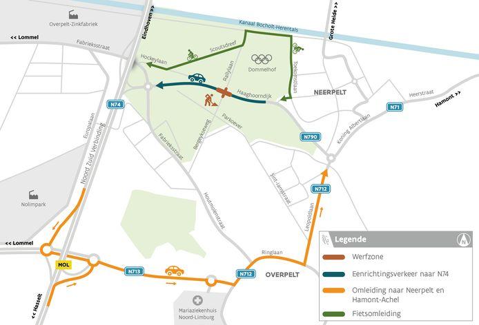 Een plannetje van de verkeersmaatregelen
