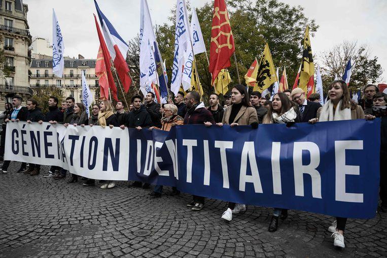 De extreemrechtse actiegroep GI demonsteert in Parijs tegen islamisme, november 2019. Beeld AFP
