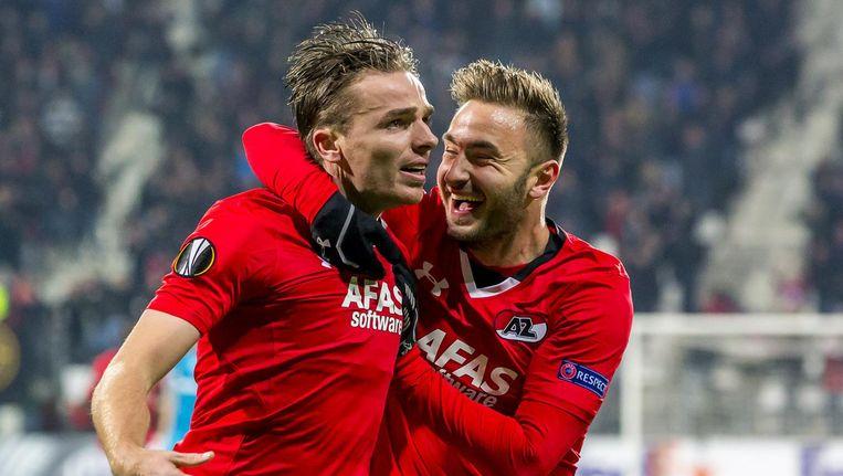 AZ-speler Ben Rienstra (l) heeft de 1-0 gescoord in de wedstrijd tegen Zenit Beeld anp
