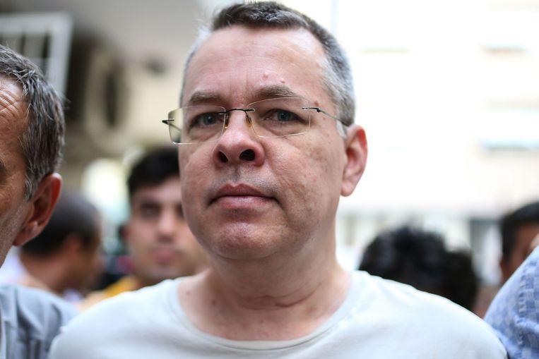 De Amerikaanse dominee Andrew Brunson komt voorlopig niet vrij.  Beeld AFP