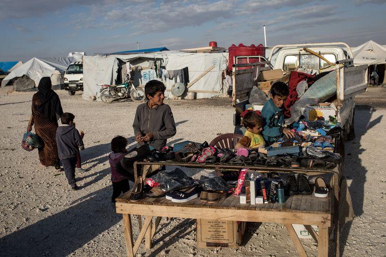 Kinderen in een vluchtelingenkamp in Syrië.  Beeld Getty Images