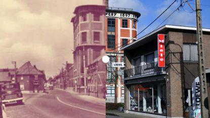 Vroeger en nu: Stationsstraat in Rotselaar met uitzicht op de Mena
