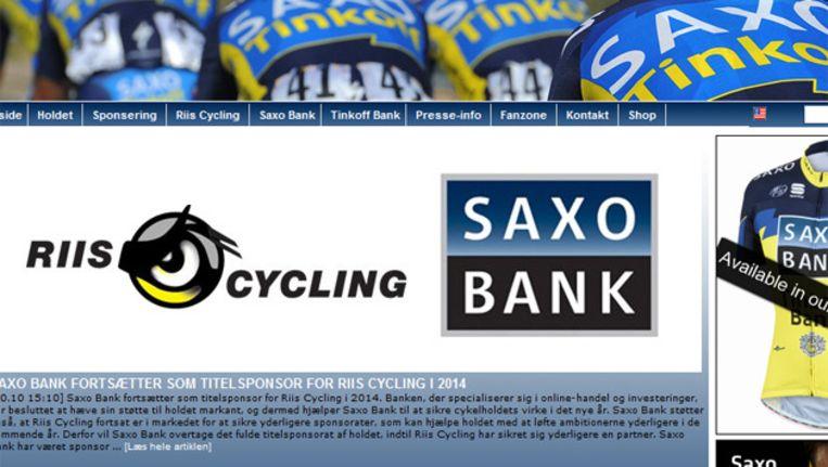 Is dit ook het nieuwe logo? Zo ziet de website er sinds enkele uren uit. Beeld screenshot Saxo Bank